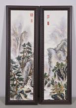 PAIR CHINESE PORCELAIN PANEL OF LANDSCAPE SCENE