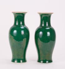 PAIR CHINESE APPLE GREEN PORCELAIN VASES