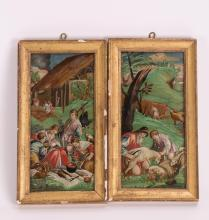 PAIR ITALY REVERSE GLASS PANELS