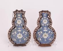 PAIR CHINESE PORCELAIN WALL VASES - DOUBLE GOURD