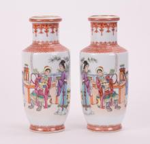 PAIR CHINESE FAMILLE ROSE PORCELAIN ROULEAU VASE