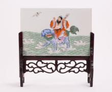CHINESE PORCELAIN SCHOLAR TABLE SCREEN - IMMORTAL