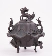 ASIAN BRONZE CENSER WITH KIRIN AND DRAGON