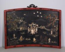 CHINESE CINNABAR WALL PANEL WITH CARVED BOY SCENE