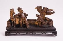 CHINESE CARVED WOOD FIGURAL GROUP - OPERA SCENE