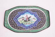 PERSIAN ENAMELED OVAL TRAY