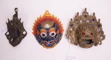 GROUP OF THREE ASIAN BRONZE MASK