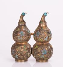 CHINESE DOUBLE GOURD SILVER ENAMELED SNUFF BOTTLE
