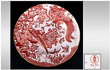 Royal Crown Derby Cabinet Plate 'Red Aves' design. Birds in foliage decoration. 10 inches in diameter.