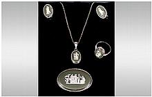 Wedgwood Green Jasper Jewellery Set, Comprising Ring, Pendant, Earrings And Brooch, All Depicting Classical Scenes, Silver Mounts.