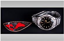 Gents Giovanni Fashion Watch Together With An Enamelled Abstract From Brooch