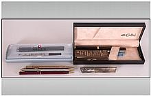 Collection Of Pens including Colibri Of London fountain pen - Includes Box, attachments and instruction leaflet. Purchase date: 19/4/93  Sheaffer Roller Ball Pen in case.  3 unboxed pens and pencil / ink holder.