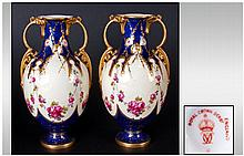 Royal Crown Derby Very Fine Pair of Two Handled Vases, Wonderful Colour ways and Both Vases In Excellent Condition. Gilt Borders, c.1902. Each Stands 6 Inches High.