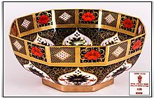 Royal Crown Derby Imari Pattern Large Octagonal Shaped Bowl. A/F. Pattern Num.1128. Date 1973. 4.75 Inches High, 11 Inches In Diameter.