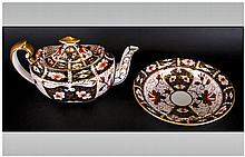 Royal Crown Derby Imari Pattern, Aladdin's Style Teapot. c.1907-1910. Good Condition. 5.75 Inches High, 10.5 Inches Wide + a Matching Bowl.