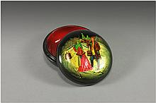 ' Along The Street ' High Quality Russian Hand Painted Lacquer Box Featuring Russian Couple Probably Going For Water. Highlighted With Mother of Pearl and Shimmering Metallic Accents. Interior Is Red Lacquer. Signed by Artist Name and Russian
