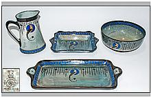 Royal Doulton Titanian Ware 'Bird Of Paradise' Set Of Four comprising 1. Footed bowl D4227, 3.75'' in height, 8'' in diameter, 2. Jug 7'' in height, D4227, 3. 2 Handled Tray, D4227, 14.5'' in diameter. 4. Two Handled Shaped Bowl, D4227, 9.5'' in