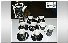 Portmeirion - 1960's ( 15 ) Piece Coffee Set ' Magic City ' Pattern. Designed by Susan Williams - Ellis. Comprises 1 Coffee Pot, 6 Cups and Saucers, Milk Jug and Sugar Bowl. Excellent Condition.