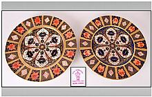 Royal Crown Derby Pair of Imari Cabinet Plates, Pattern Num.1128. Each Plate 10.5 Inches Diameter. Each Plate In Mint Condition.