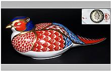 Royal Crown Derby Paperweight ' Pheasant ' Issued 1983-1998. Gold Stopper, Date 1988. 1st Quality and Mint Condition.