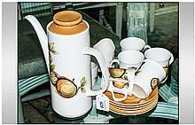 Studio Meakin Part Coffee Service Comprising 6 cups & saucers, sugar bowl, milk jug & coffee pot