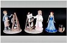 Two Boxed Girl & Boy Figures & Art Class By Leonardo - With Royal Doulton Figure ( Gemstone, September & Sapphire ) and Small Doulton Toby Jug of the Gladiator.