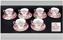 Royal Albert Part Tea Set ''Lady Carlyle'' - White and pink with floral decorations. Comprises of 6 Cups, saucers and side plates.