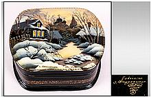 Fine Quality Russian Lacquered Table Box, Hand Painted with Infinite Detail, Depicting Beautiful Russian Winter Landscape Featuring Typical Russian Country Houses, Snow Covered Roofs and Domes of Russian Churches. Highlighted with Mother of Pearl,