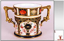 Royal Crown Derby Imari Two Handled Cup, Pattern Num.1128. Date 1970. Height 3.25 Inches.