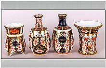 Royal Crown Derby Imari Pattern Miniature Vases ( 4 ) In Total. Dated 1918, 1916, 1925 & 1920. Sizes 3, 3. 2.25 & 2.25 Inches.