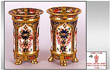 Royal Crown Derby Imari Pair of Miniature Vases, Pattern 1128. Each Vase 2.5 Inches High. Excellent Condition.