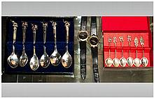Collection Of Mixed Silver Plated Flatware + 2 Silver Spoons