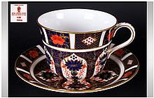 Royal Crown Derby Imari Patterned Cup and Saucer. Pattern Num.1128. Date 1974, Saucer 6.5 Inches Diameter & Cup 4 Inches Diameter. Mint Condition.