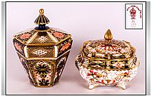 Royal Crown Derby Imari Lidded Trinket Box. c.1911. Height 4 Inches + One Other.