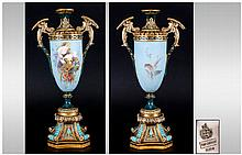 Royal Worcester Signed Renaissance Style Vase, the elongated, goblet shaped body hand painted with a scene of gilt and white parrots amidst polychrome foliage, against a duck-egg blue ground, signed E. Salter, (Edwin Salter at Worcester 1876-1902);