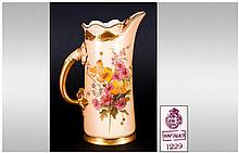 Royal Worcester Hand Painted Blush Ivory Single Handle Vase / Jug ' Spring Flowers ' Date 1903. Shape 1229, Height 6 Inches.