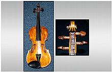 Cased Violin, Labelled Wolff Bros Violin Manufacturers N 1059 1891 Length of back 13.5 Inches. Complete With Later Case And Bow