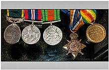 WW1& WW2 Medals Comprising 1914-15 Star & Victory Medal Awarded To 37399 CPL J Wright R.A.M.C Together With Defence, 1939-45 War Medal & Territorial Army Efficiency Medal Awarded To 1443885 GNR L Wright R.A