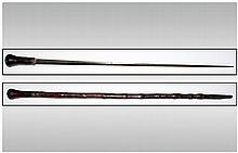 19thC Sword Stick, Bamboo Cane With Metal Mounts, Etched Blade. Overall Length 36 Inches