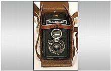 Vintage German Voigtlander Brilliant Rolliflex Box Camera. c.1930's. Complete with Leather Case and Strap. Good Condition.