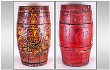 Royal Navy Grog Barrel, the oval shaped oak casket with metal bands attached and finely decorated with The Royal Coat of Arms and RN Cypher. The decoration contemporary to the period. Late Georgian, Early 19thC. 24 inches wide and 16 inches wide.