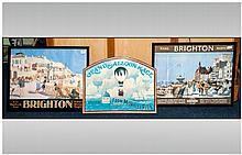 Travel Posters, Two Framed Decorative Brighton Posters, The Road To Southern Railway Sunshine. Together With An ''Air Display Boards'' Display Plaque.