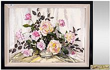 Phyllis Hibbert 1903 - 1971 Still Life ' Roses ' Watercolour. Signed, Mounted and Framed Behind Glass. 22 x 30 Inches. From a Ladies Private Collection.