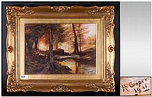 Henry Cooper, Active 1910 - 1935 ' Stags and Deer ' In a Forrest Setting Oil on Canvas. Signed and Dated 1921. Mounted and Framed Behind Glass. Size 11 x 13.5 Inches. All Aspects of Painting Is Excellent / Original Condition.
