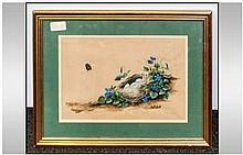 P.L Edmondson British Late 19th/Early 20th Century. A Still Life Of 'Forget-Me-Nots' Birdsnest & Bee Watercolour & Gouache On Brown Paper Image size 8x12'' Housed in a gilt frame. Gallery Label verso for Dallas Inman Gallery. 36 Friargate Preston.