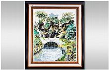 Contemporary 'Canal Boat Scene' Framed Oil on Canvas in the Impressionist Style. Unsigned. 29 by 36 inches.