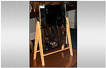 Toilet Mirror with beech frame. 22 by 14 inches.