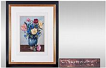 Enoch Fairhurst b.1874. Lived Bolton - Still Life of Roses In a Blue Ceramic Vase, Watercolour, Signed. Size 14 x 9.1/4 Inches. Wash Lived Mount and Gilt Frame.