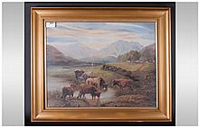 A Late 19th Century Signed Painting Scottish - Loch Scene, Highland Cattle Oil on Canvas, Signed, Mounted and Framed Behind Glass. 15 x 19 Inches.