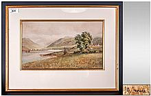 Malcolm Crouse 1907, Lived Sale, Manchester - Watercolour, View of Loch Fyne Head & Dunderave Castle, Inscribed on Face and Signed. Size 8.5 x 14.5 Inches. Ivory Mount Overlaid on Original Gold Mounted, Framed.